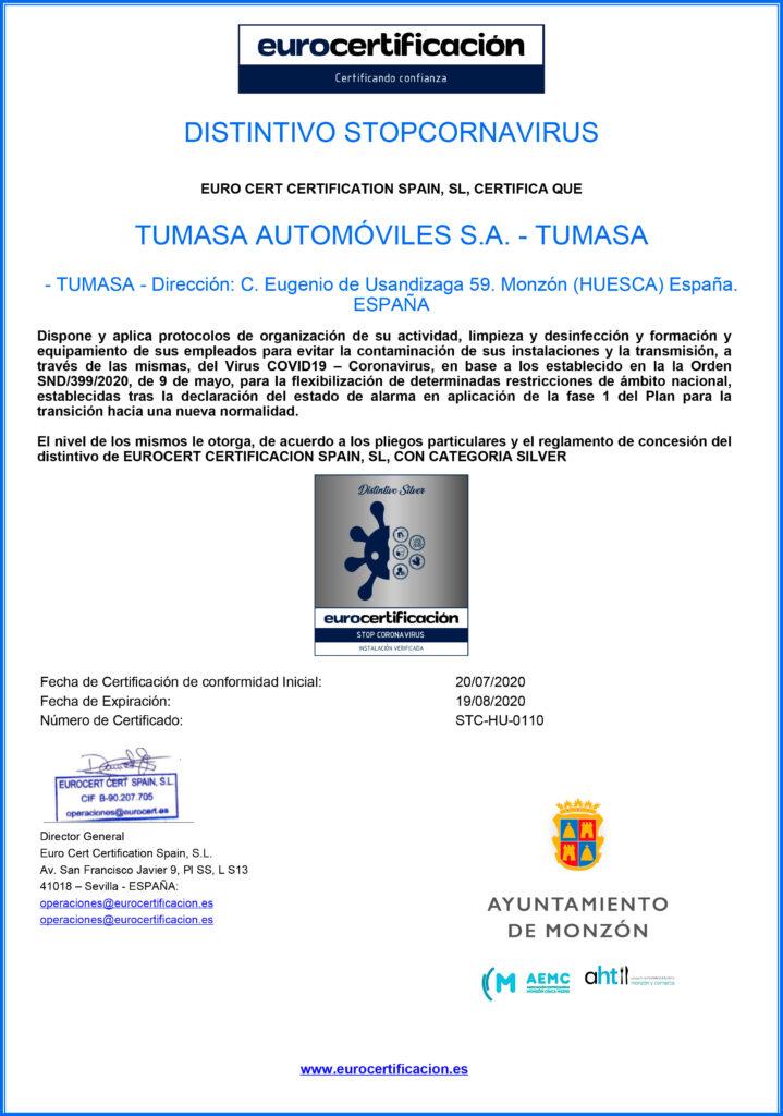 Certificado de Tumasa Monzón Stopcoronavirus