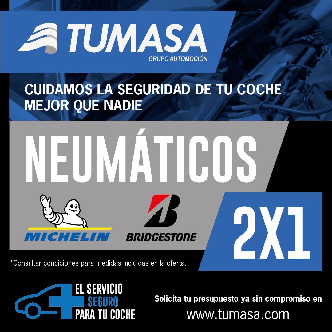 2x1 en ruedas Michelin y Bridgestone en Tumasa Huesca y Monzón. Oferta ruedas, oferta neumáticos, promoción ruedas, promoción cambio de ruedas en Huesca y Monzón
